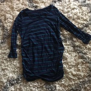 Navy blue, green stripped maternity tunic